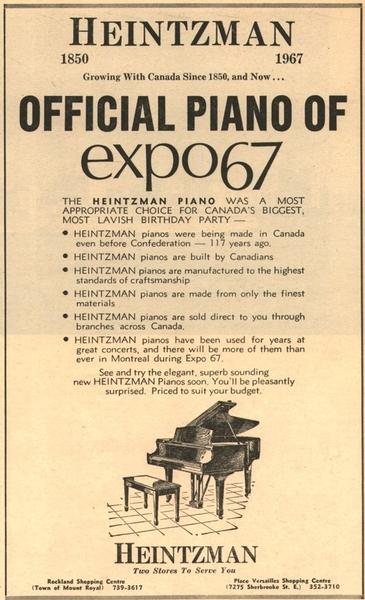 Heintzman print ad Expo 67