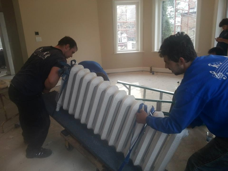 Cast iron radiators going out to get sandblasted and repainted
