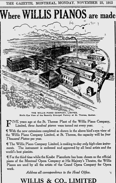 Willis Piano company factory 1912